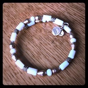 White and gold Alex and Ani beaded wrap